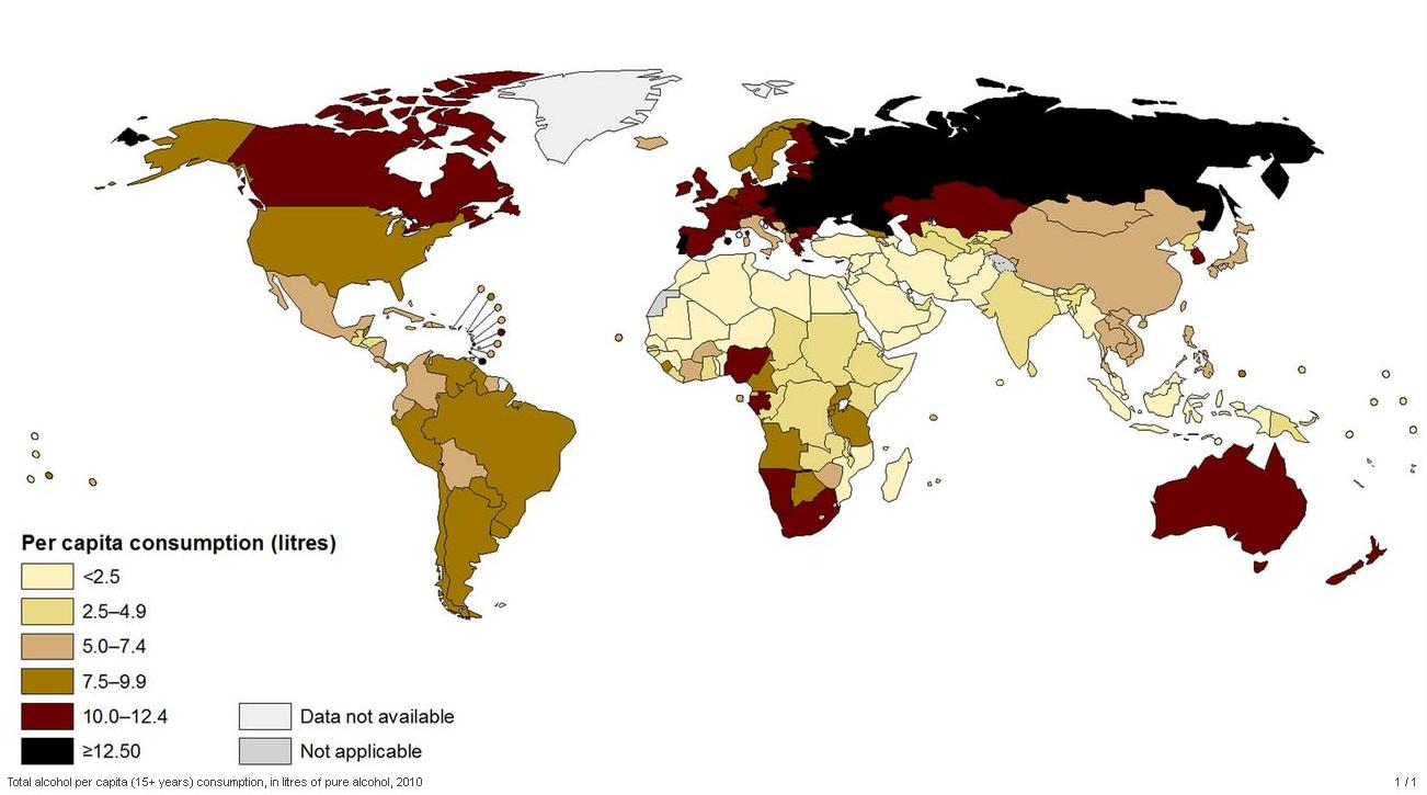 Alcohol Consumption by country