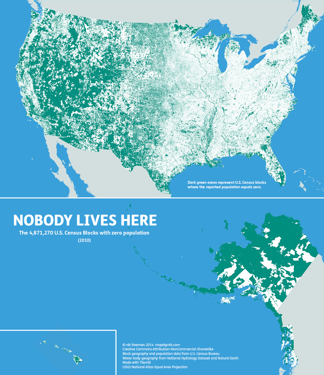 Population Density Where People Dont Live in the US
