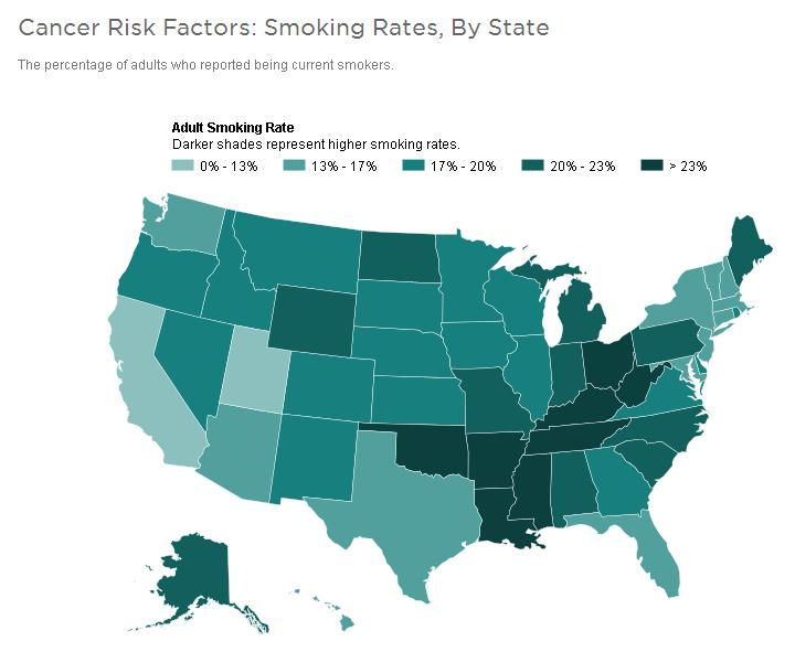 Cancer Malignancy Tumor - Smoking rates us map