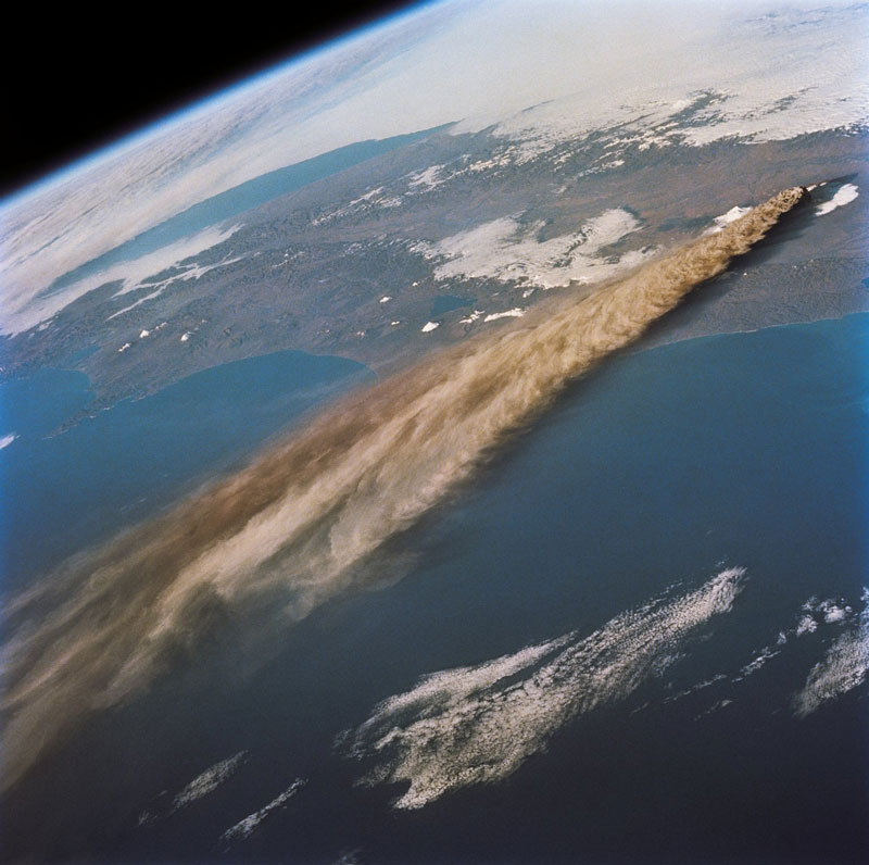 Volcano erupting seen from space