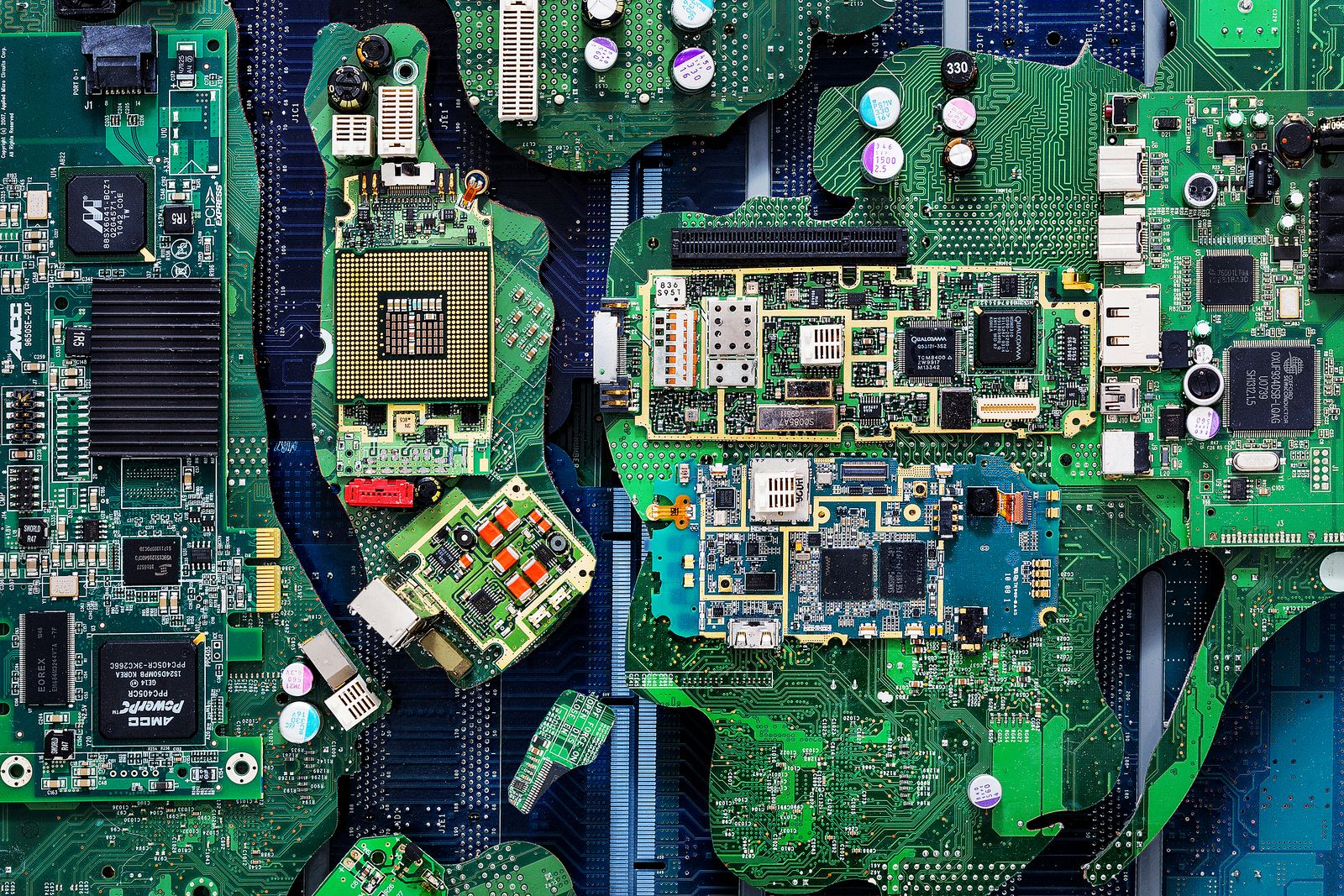 Computer Parts Such As Circuit Boards Memory Chips Cpu And Hard Disk
