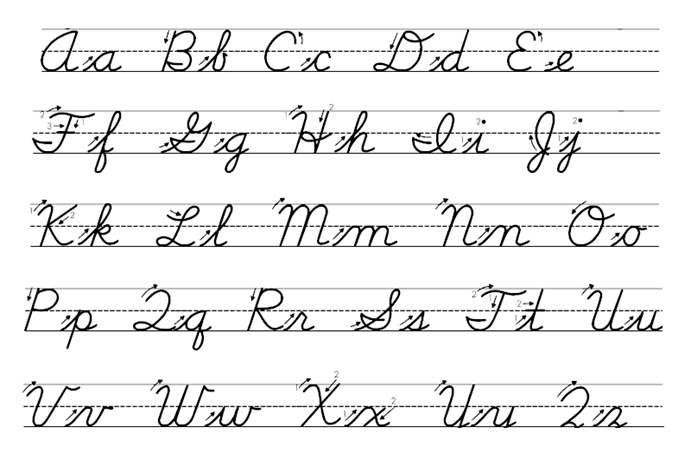 Cursive Capital Uppercase and lowercase small letters
