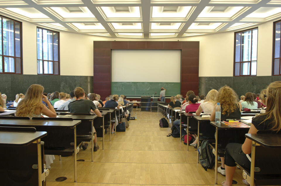 Large Classroom with Students